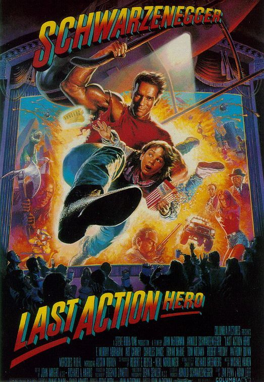 LAST AMERICAN HERO (1993) - Arnold Schwarzenegger - F. Murray Abraham - Art Carney - Charles Dance - Frank McRae - Tom Noonan - Robert Prosky - Anthony Quinn - Mercedes Ruehl - Produced by Arnold Schwarzenegger - Directed by John McTiernan - Columbia Pictures - Movie Poster