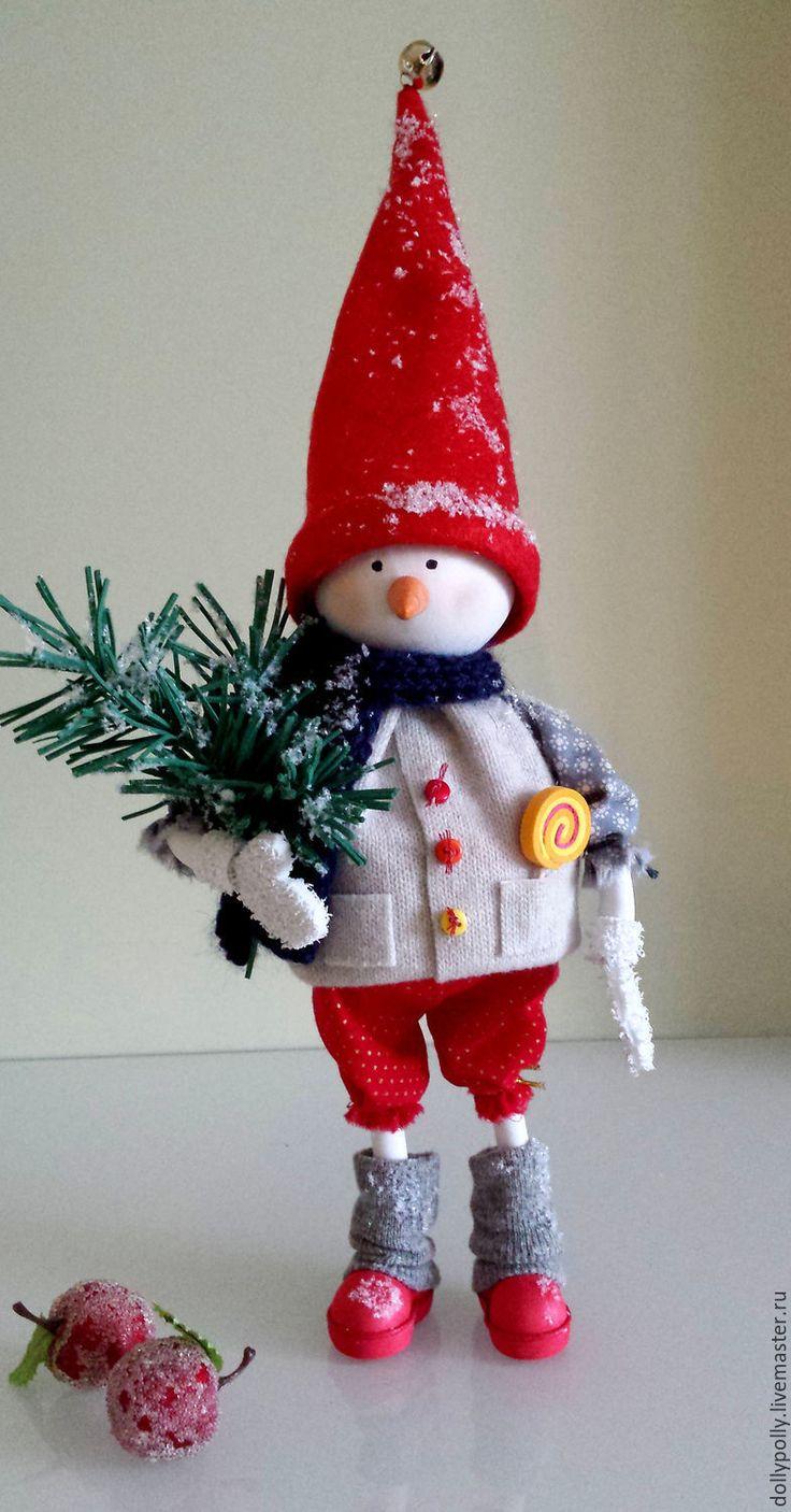 Купить Снеговичок - ярко-красный, кукла ручной работы, кукла из фоамирана, игрушка из фоамирана