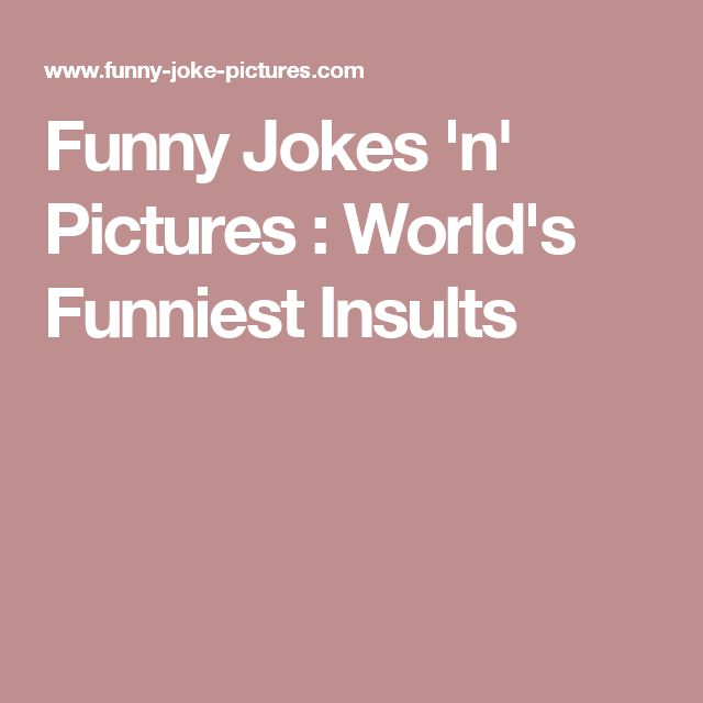 Funny Jokes 'n' Pictures : World's Funniest Insults