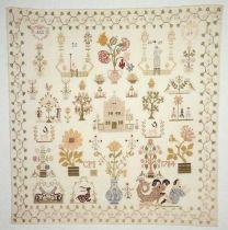 """Merklap gewerkt in kruissteek in gekleurd zijde op fijn crèmekleurig katoen met linneneffect, gemerkt """"CM / 1784 / ACS / AP"""""""
