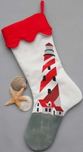 Lighthouse Christmas Stocking: Lighthouse Christmas, Gift, Lighthouse Stocking, Christmas Holidays, Lighthouses, Candy Canes, Christmas Stockings, Christmas Ideas, Nautical