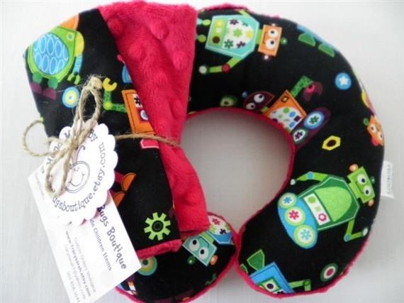 $11/3/1 RoBoTs- Travel Pillow with Matching Car Seat Strap Covers. pillow available for $7.