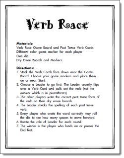Verb Race Game Freebie from L. Candler. Make your own stack of verb cards, perhaps even fill in the blank spots with subject?