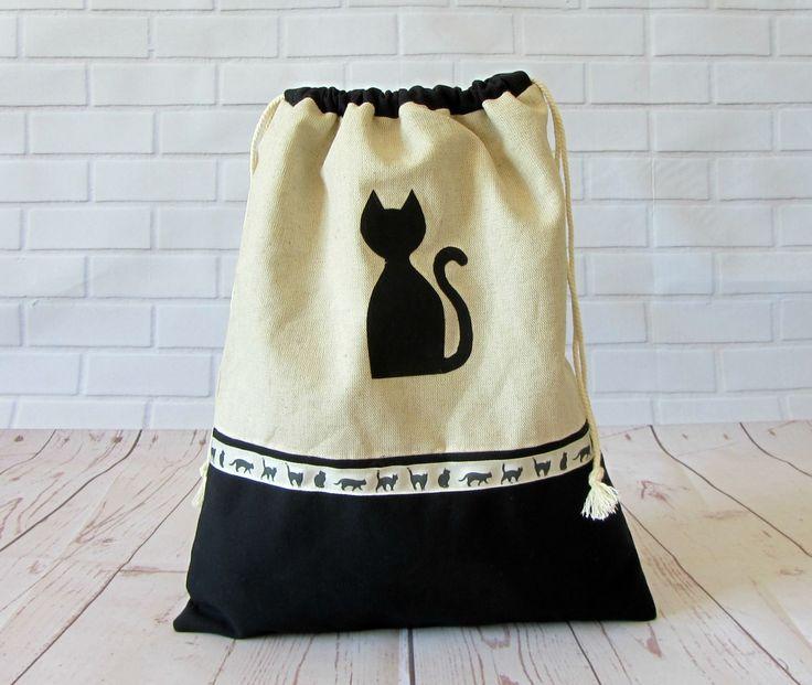 Sac pochon en coton, le chat noir