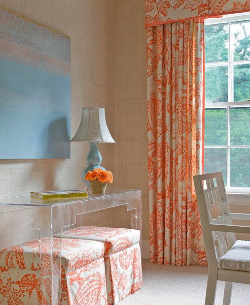 Suzie: Honey Collins - Chic tan & orange office with tan grasscloth wallpaper, acrylic console ...