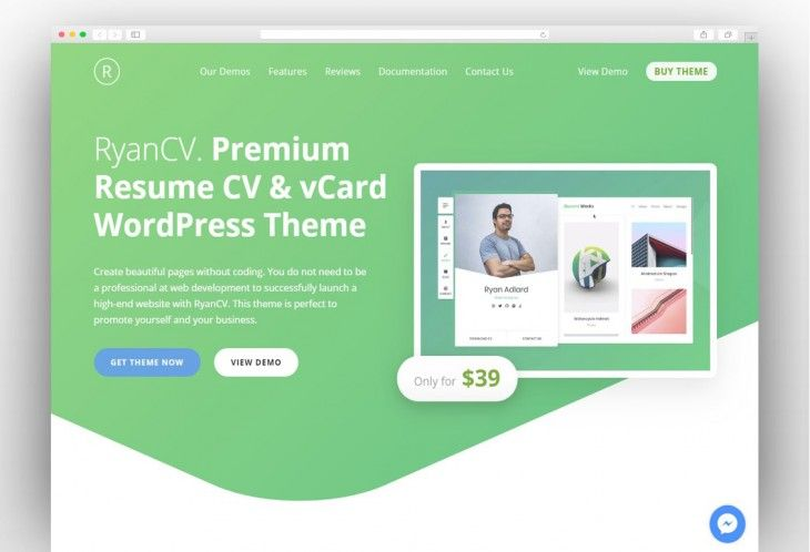 Ryancv Cv Resume Vcard Theme Professional WordPress Themes Best Resume Format WordPress Portfolio Template