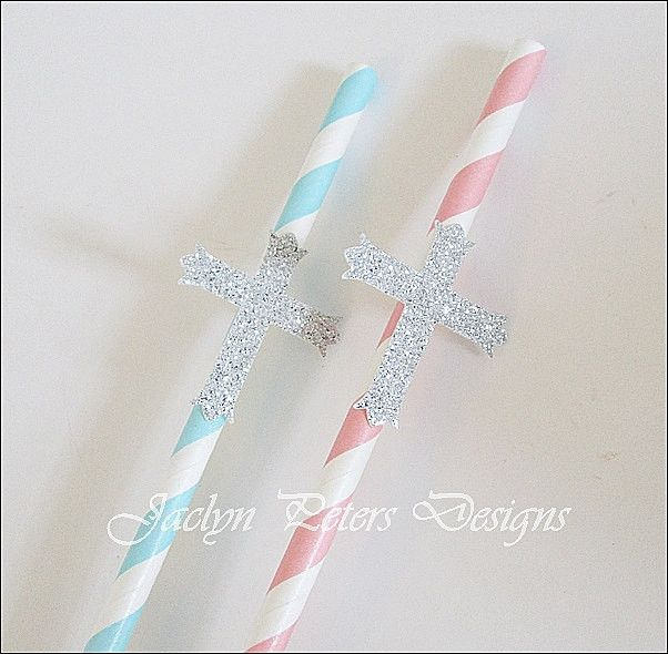 Silver Glitter Cross Communion Party Straws