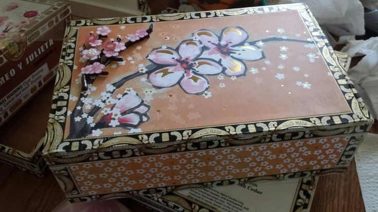 Cherry Blossom decorated altered cigar box