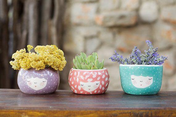 Set of 3 Ceramic Planters - ceramic pot - ceramic planter - ice cream bowl - kitchenware - dessert dish - succulent planter - MADE TO ORDER