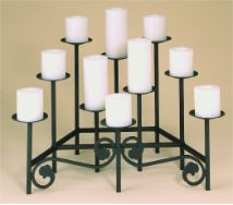 Ten Candle Tiered Fireplace Candelabra