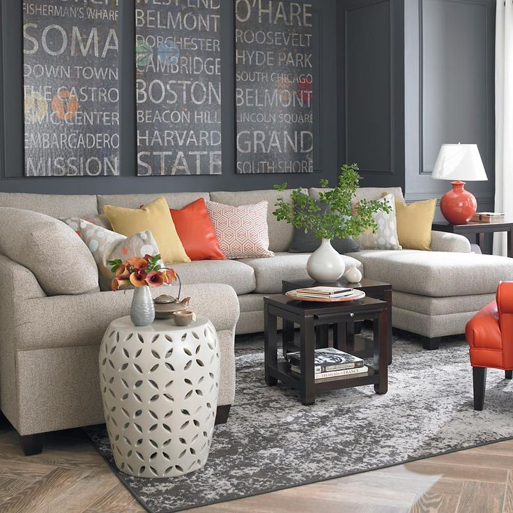 light couch & dark wall- this looks like our sectional