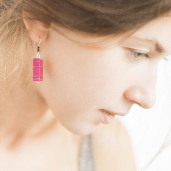 Pink Minimalistic Sequin Earrings French Hook OOAK by avocadocraft