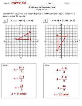 GRAPHING FIGURES ON A COORDINATE PLANE {TO CALCULATE AREA} - TeachersPayTeachers.com