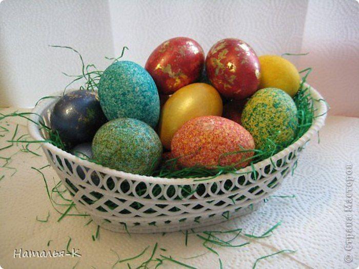 Покраска яиц рисом за пару минут. Красиво и необычно!