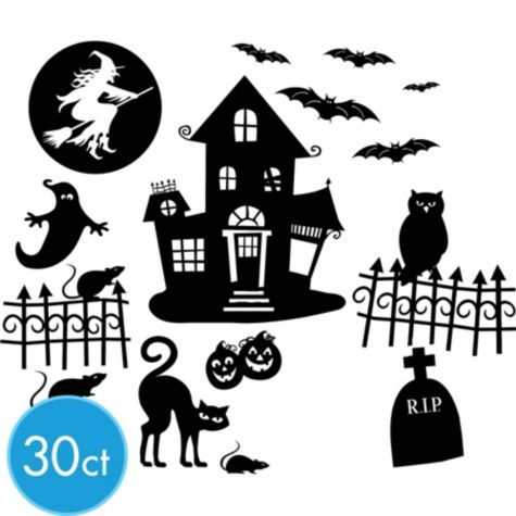 halloween wall decals 30ct party citycreate your own spooky scene with our halloween wall decals - Halloween Wall Decorations