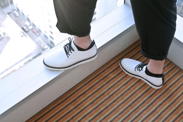 Our Darnell in white smooth leather with black laces, black welts and white outsole // ELECT Footwear - Our Shoes //