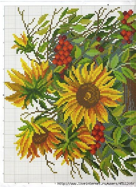Cross-stitch Sunflowers, part 1...  color chart on part 2