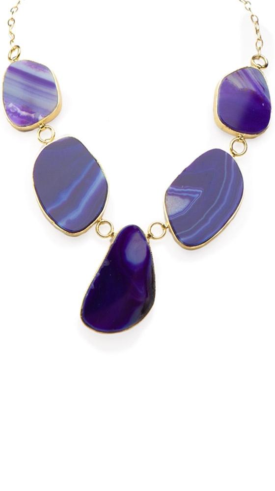 Organic Shape Necklace, Purple by Marcia Moran: Shape Necklaces, Purple Necklaces, Bib Necklaces, White Ribbon, Bibs Necklaces