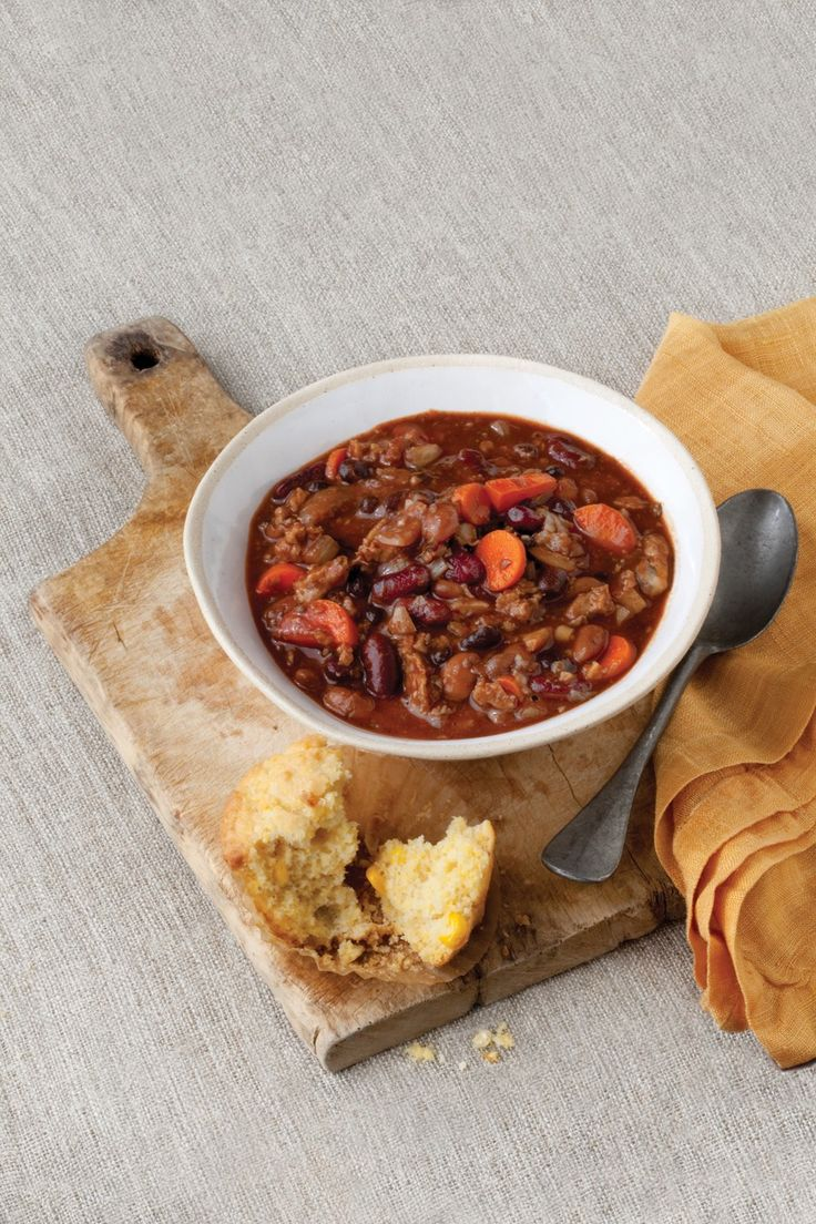 Ultimate Vegan Chili: This chili is made with a base of seitan and mushrooms for a rich, thick dish that is, for lack of a better word, meaty! In lieu of chili beans such as Bush's Best Chili Beans, you can substitute or 1 can each black beans, kidney beans, and pinto beans, partially drained. If you like your chili three-alarm hot, add an extra chipotle chile or two. Ultimate Vegan Chili, 3.6 out of 4 based on 13 ratings