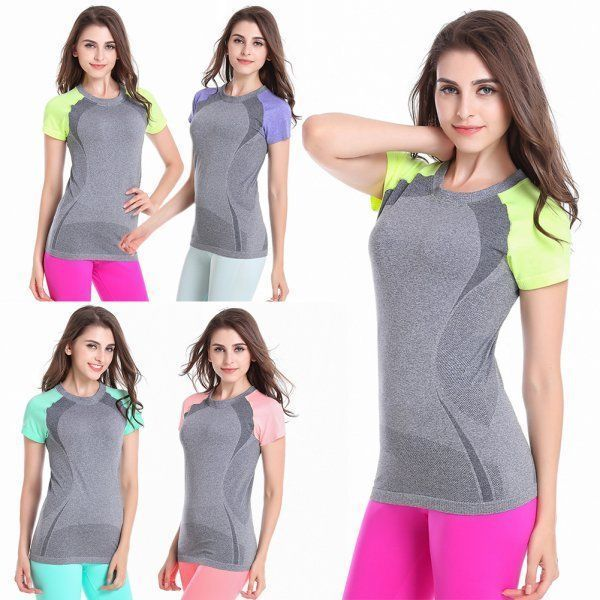 Women Athletic Sport Stretch Fitness T-Shirt Yoga Trainning Top Quick Dry Shirt