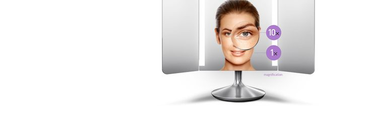 Our sensor mirror pro wide view has a wide viewing area with side panels that fold in so you can see yourself from almost any angle plus a 10x magnification detail mirror for close-up work. With a color rendering index (CRI) of 90, its tru-lux light system closely simulates natural sunlight's full color spectrum to show every detail. Capable of over 50,000 color variations, you can use the phone to choose presets or capture light settings from the environment around you and recreate them in…