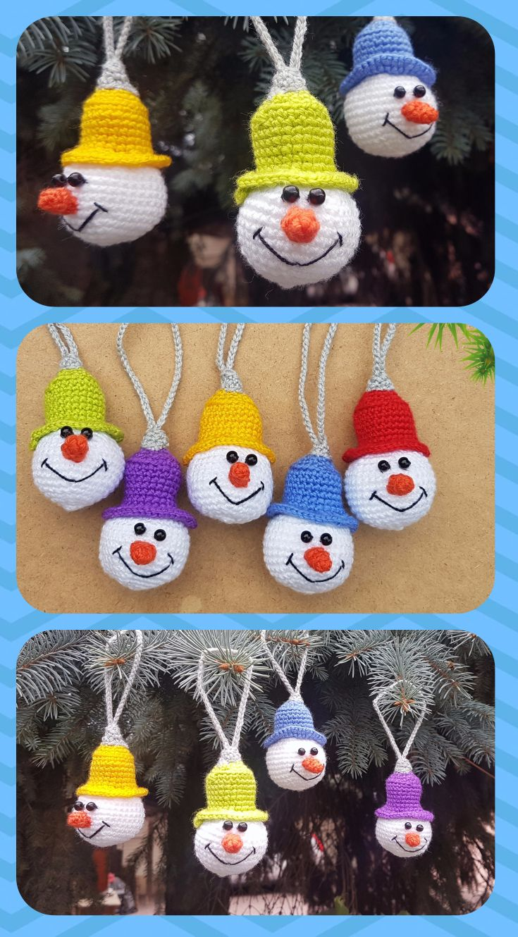 Crochet christmas ornament tree decorations snowman ornament set of christmas toy snowman winter holiday tree ornament knitted stuffed plush