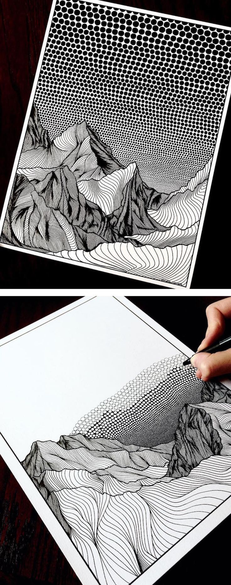 Artist Draws Countless Lines and Dots to Capture the Majestic Beauty of Mountains – My Modern Met