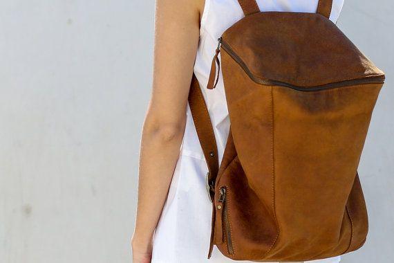 Vendita in pelle marrone zaino borsa da viaggio di CyanByMiriWeiss