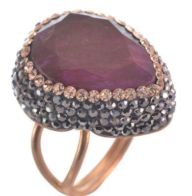 Δαχτυλίδι druzy από ρόζ επιχρυσωμένο ασήμι με εντυπωσιακή πέτρα ρουμπίνι