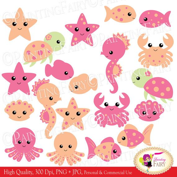 ... clip art pf00061-1Shells Starfish, Clip Art, Digital Clips, Sea