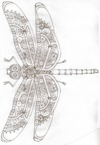 love this dragonfly, click to  see her embroidery of her design; doodles