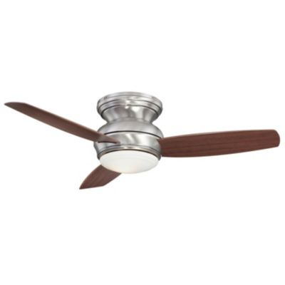 Concept Traditional Flush Ceiling Fan with Optional Light by Minka Aire this can be used outside, too.  It comes with a wall switch but you can order a remote...it is brushed nickel/pewter and dark maple blades  $315