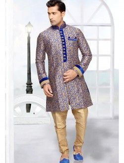 Beige Wholesale Indo Western Sherwani With Jacquard Art Silk  Fabric #Sherwani #Artsilk