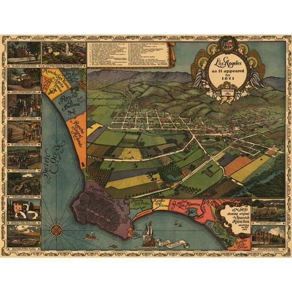 Bird/'s Eye View 1891 Los Angeles California Vintage Style City Map 16x24