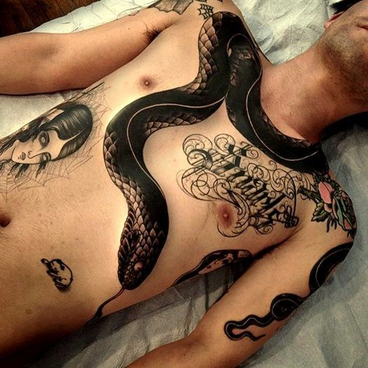 black #snake #tattoo #snaketattoo