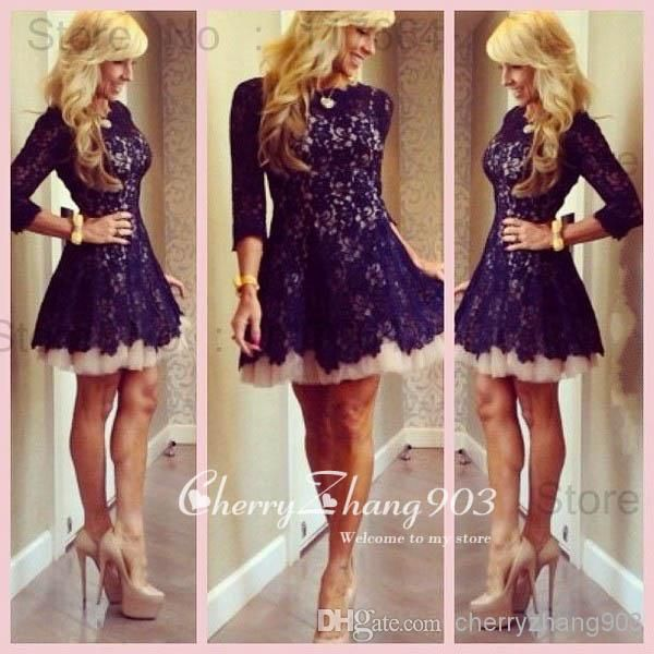Cheap Homecoming/Cocktail Dresses With Crew Neck Sheer 3/4 Long Sleeve Lace Pleats Zipper Back A Line Short/Mini Skirt Custom Made Dresses