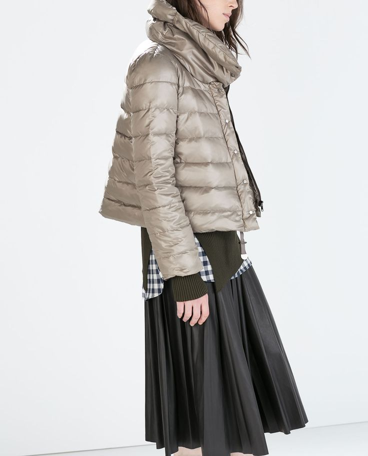Image 2 of DOWN JACKET WITH OVERSIZED COLLAR from Zara