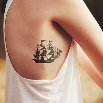 Vintage ship temporary tattoo