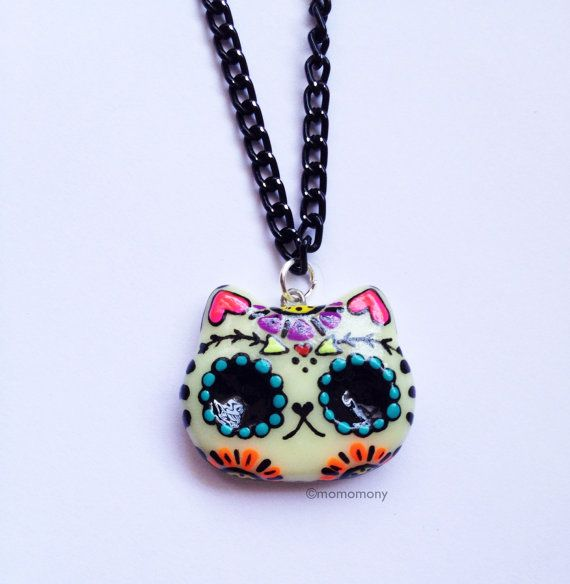 Super Cute Dia de los Muertos Cat Catrina Skull Necklace by momomony on Etsy, $6.00