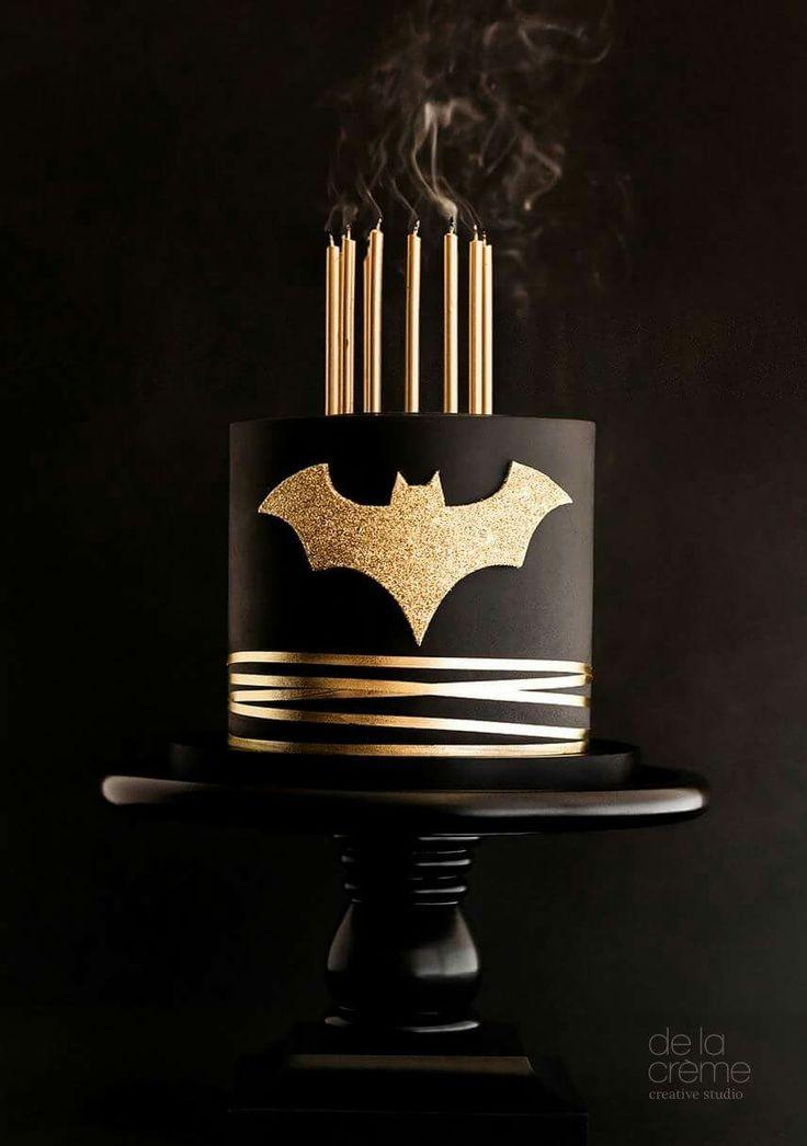 Minimalist black-and-gold Batman cake - really nice!!