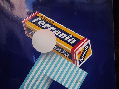 FERRANIA ROLL FILM PORCELAIN ENAMEL SIGN ITALY C1930'S.