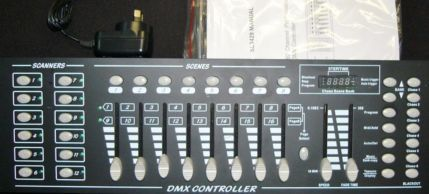 RAVE DMX controller suitable for almost any LED light using up to 8 channels each fixture.  Controller has 12 banks of 8 channels, you can program scenes and also chases. Owners manual is included.  Secondhand, but as new & still in box, $90 Sorry, Sold.