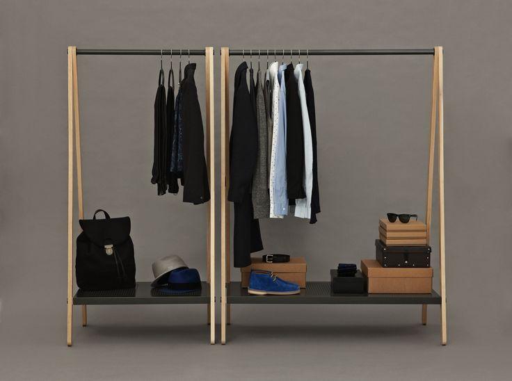 Designer Simon Legald is behind this garment rack that looks decorative in your wardrobe. http://www.designdelicatessen.com/products/231-normann-copenhagen/4301-normann---toj-garment-rack-grey/