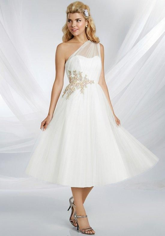 This romantic Royal Maiden gown features a wide, one-shoulder strap and asymmetric lace motifs at the waist. Graceful net pleats add elegance | Disney Royal Maidens by Alfred Angelo | https://www.theknot.com/fashion/529-disneys-royal-maidens-dresses-by-alfred-angelo-bridesmaid-dress