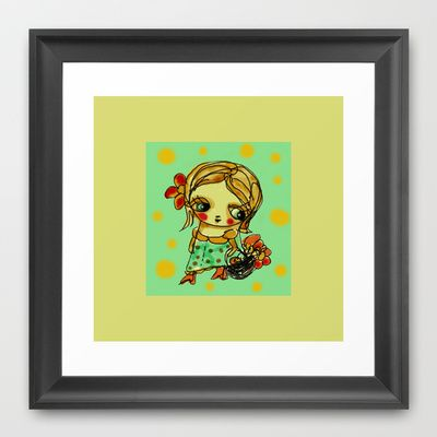 Picking flowers 1 Framed Art Print by Dulcamara - $35.00