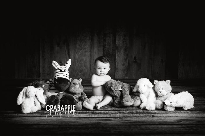 nine month old baby photo ideas, black and white photos, 9 months, baby and stuffed animals, 9 month old studio photos, Somerville Baby Photography