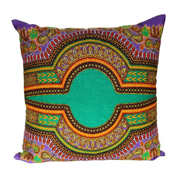 African Print Pillow Cover Boho Tribal Cushion Cover Purple Green Multicoloured Multicolored