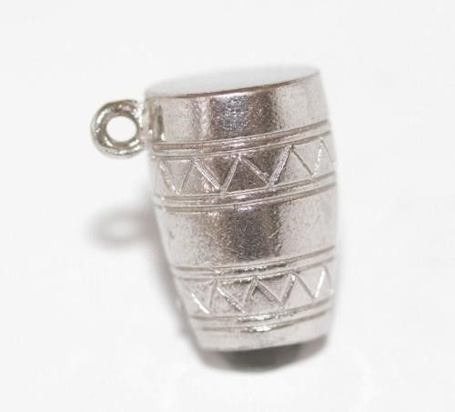 Vintage Sterling Silver Bracelet Charm Conga Drum Musical Instrument (3.2g)