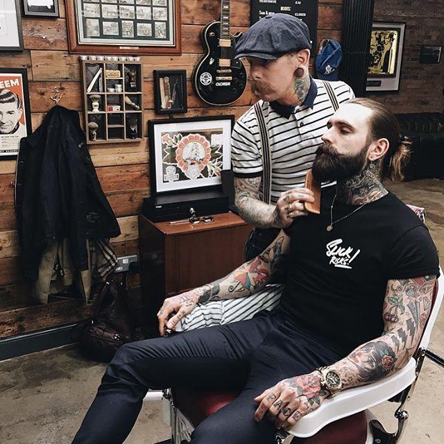 Ricki Hall - full thick dark beard mustache beards mustaches bearded man men mens' style fashion tattoos tattooed barber #beardsforever