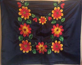 Lienzo del Istmo bordado a mano sobre piel de ángel negro, Tehuana , Frida Kahlo, nuevo, camino de meza, Hecho a mano, Huipil